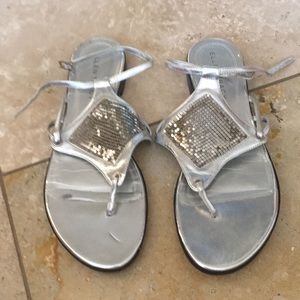 Ellen Tracy silver sequined sandals